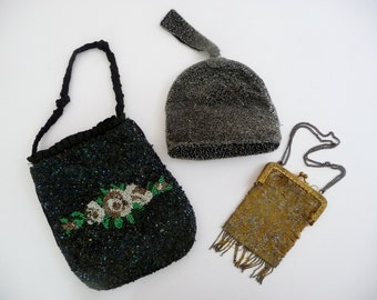 Vintage Victorian Beaded Purse Lot 1930s - 1940s, 1 AS IS