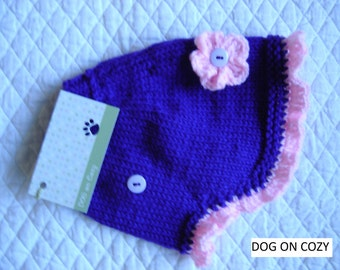 Flared Dog Sweater, Hand Knit Sweater for Pet, Size XSMALL, Sweater Cape Purple