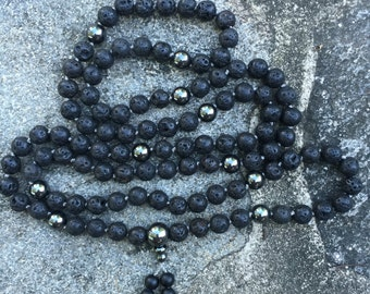 Lava Rock 108 Bead Mala Necklace