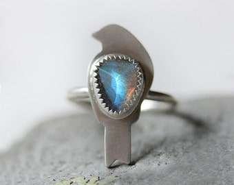 Small Bird Ring/ Labradorite Ring/ Stacking Ring/ Translucent Flashy Labradorite/ Nature Ring/ Blue Fire/ Brushed Sterling Silver/ Size 7.25