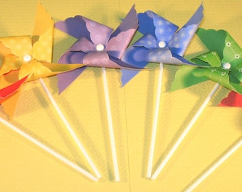 Over the Rainbow Pinwheels - ( Qty 12) Pinwheels, Decorative Pinwheels, Pinwheel Center Pieces, Table Top Center Pieces, TableTop Party Prop