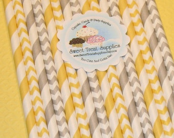 NEW - Yellow & Gray Striped and Chevron Paper Straws  (Qty 24)  DIY Flag Toppers, Yellow Straws, Gray Straws, Paper Straws, Drinking Straws