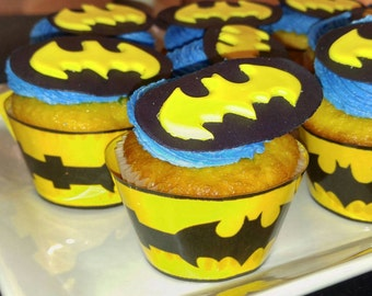 Reserved Batman Cupcake Toppers, Edible Batman Cupcake Topper, Batman Birthday Party, Bat Signal, Batman Utility Belt Cupcake Wrappers,