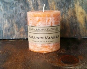 "Sugared Vanilla Scented Pillar Candle 3""x3.5"" Tall"