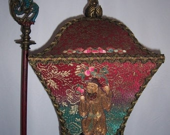 Antique Chinese Gothic Dragon Tasseled Floor Lamp Hand Made One of a Kind