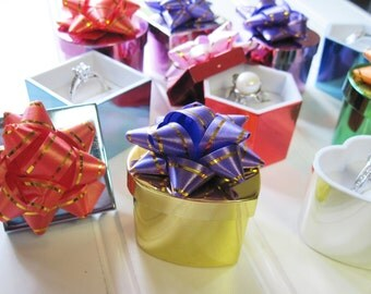 2 Piece Ring Boxes with Bows Shiny Metallic Lot of Nine  Assorted Shapes and Colors