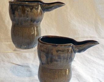 Handmade Ceramic Creamer, Belly Shape Grey Blue Creamer, Bird beak creamer, Ceramic Creamer