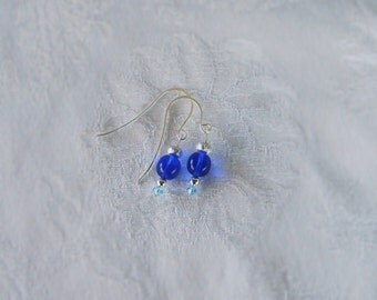 I'm Blue Earrings with Cobalt blue glass and Saphire blue Swarovski crystals