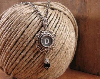 Typewriter Key Jewelry - Personalized Jewelry - Black Initial D Typewriter Key Necklace - Gift for Woman