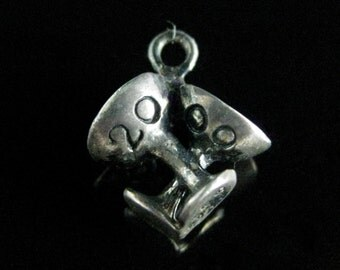 Charm, Sterling Silver, Champagne, Martini Glass, Celebration, Cheers, Year 2000, Party Time, Toast