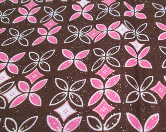 "Quilt Fabric 45 x 62"" Small Print for Quilting Pink Brown Glitter Marcus Brothers Retro Fabric for Spring Girls Clothes MBT Cotton Vintage"