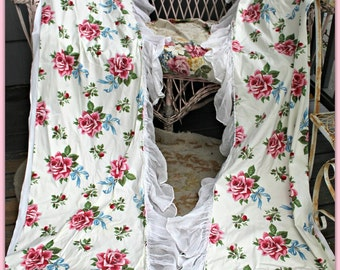 2 pair vintage shabby curtains PINK ROSES and ribbons cotton voile trim attached valance French Farmhouse  Prairie  Cottage 2 windows