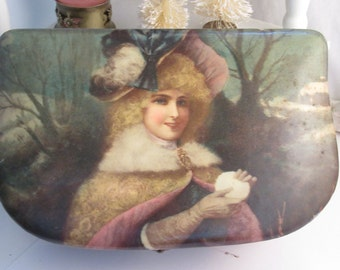 Antique Vintage Celluloid Box Hankie Box Pink Silk Lined Shabby Chic Decor Victorian Dresser Box