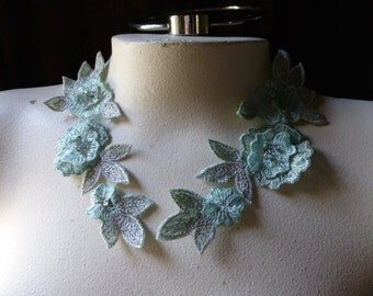 Mint Green Beaded Lace Applique Pair for Lyrical Dance, Sashes, Headbands, Costumes PR