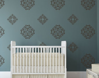 Classic Wall Pattern Vinyl Wall Decal, Classic Medallions - 24 Graphics, Vinyl Wall Graphics, Damask Print, Wallpaper, Stickers item 10034