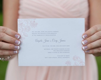 Petals and Lace Design Custom Wedding Invitation Set