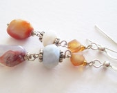 Summer Sunset, mexican fire opal, blue opal and carnelian drop earrings
