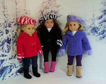 American Made 18 Inch Doll Coat with Mittens Hat & Boots in Choice of 3 Colors