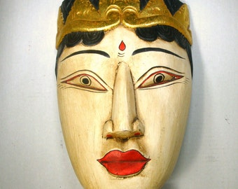Indonesian Painted Wood Face Long Wall Sculpture, Bali Traditional Ethnic Tribal Art, 1980s Red Black Cream with Gilt