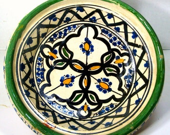 Morocco Ceramic Bowl, 1970s Folk Pottery, Country Cottage Kitchen Primitive Hand Painted Traditional Terra Cotta, Marocco