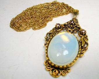 Gold FiIigree Pendant and Chain, Purple Rhinestones and Opalescent Glass Cabochon, 1980s
