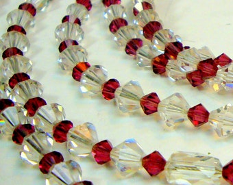 Garnet Red n White Sparkling Glass Necklace, 3 Strands Vintage 1960s,  Full of Light n Elegance, Clear Glittery Glass Beads