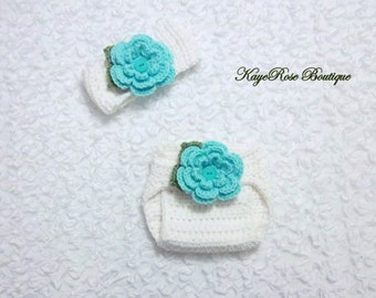 Newborn Baby Girl Crochet Flower Head wrap and Diaper Cover Set White and Light Teal