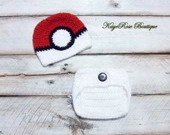 Pokemon Poke Ball Inspired Newborn to Three Month Old Baby Crochet Hat and Diaper Cover Set Red White and Black