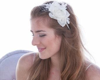 Vintage Rose Wedding Headband, Wedding Hair Headpiece, Bridal Headband, Vintage Weddings, Birdcage Netting Wedding Hair