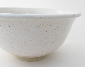 Handmade Footed Stoneware Serving Bowl in Rustic Farmhouse White