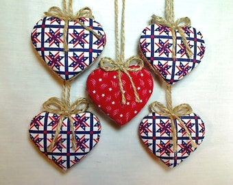 Red White & Blue Americana Heart Ornaments | July 4th Decor | Party Favor | Holidays | Patriotic | Tree Ornament | Handmade | Set/5 | #4