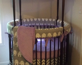 Deposit Round Crib Bedding Gray and Lavender Made To Order