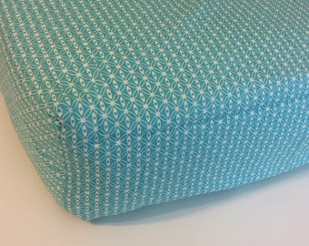 Teal and Cream Fitted Crib Sheet