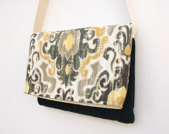 Ikat Messenger Bag, Gold and Black Blue Purse, Faux Suede Purse, Foldover Messenger Bag, Back To School Bag, Shoulder Bag, Crossbody Bag