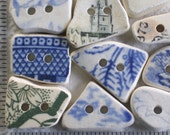 12 Large Beach Pottery Buttons Focals Double Drilled 3mm holes Supplies (1903)