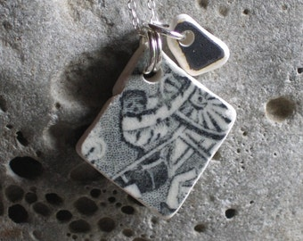 Natural Beach Pottery Sterling Silver Pendant Necklace (744)