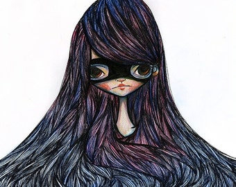 SUMMER SALES EVENT Fine Art Print - 'Nadia' - 8.5x11 or 8x10 11x17 or 13x19 Medium or large Sized - Super Hero Girl art print - Purple and B