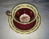 Foley Bone China Cup and Saucer Burgundy and Gold