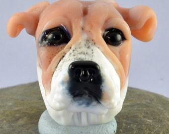 Bulldog Focal Bead Sculpture - Flameworked Glass Bead - Handmade Lampwork Glass Sculpture Bead
