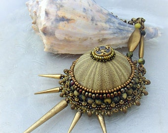 Bead Embroidery Pendant Necklace - Poseidon's Crown Sea Urchin Green and Gold