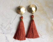 Tassel Earrings. Rust Silk Tassel. Big Bold Earrings. Brass and Silk. Post earrings. Statement Earrings. Fashion Lover. For her. Boho.