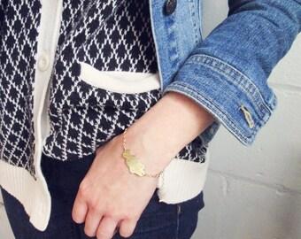 RESERVED for Sarah. Let Go Charm Bracelet. Gold Bracelet. Yoga Bracelet. Inspirational. Etched Brass. Script Bracelet.