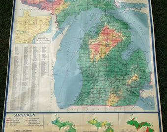 Physical Political Classroom Roll Down Wall Map of Michigan by Nystrom