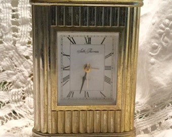 Vintage Seth Thomas Battery Alarm Clock Goldtone Not Working