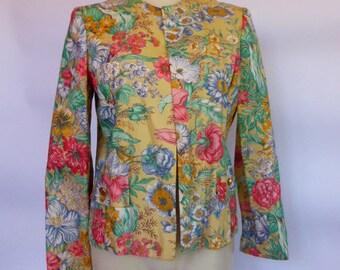 Spring Floral Crop Blazer SZ M 1980s Yuppie