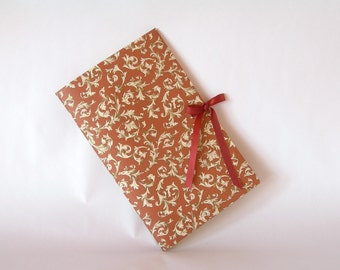 Blank book journal chapbook- rust Florentine with rust ribbon tie-(6x9in.)-Ready to ship