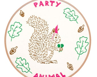 PARTY ANIMAL embroidery kit - funny embroidery pattern, squirrel, party hat, forest animal embroidery, embroidery hoop art by StudioMME