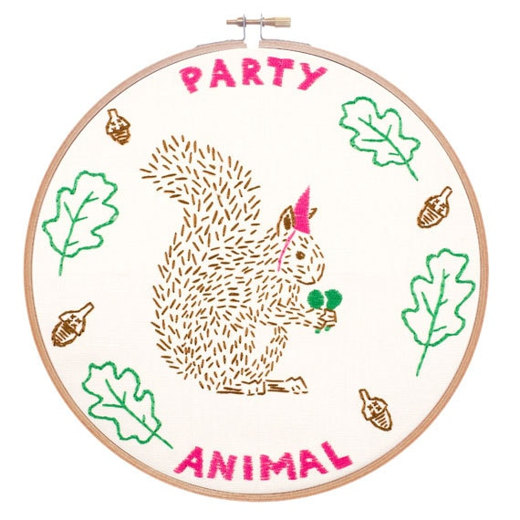 Party animal embroidery kit funny pattern