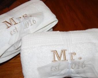 Mr. and Mrs. bath towel set