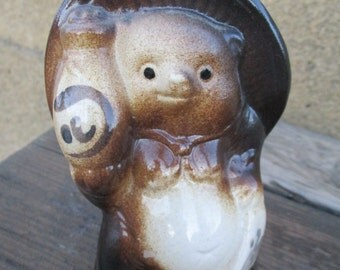 Japanese Tanuki Figurine Racoon-Dog Ceramic Figure Shigaraki Ware pottery